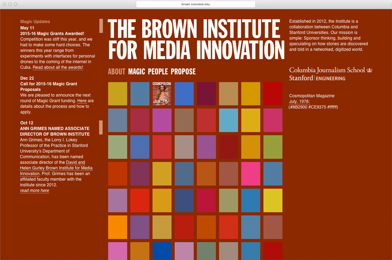 Brown Institute for Media Innovation identity and website  - MTWTF