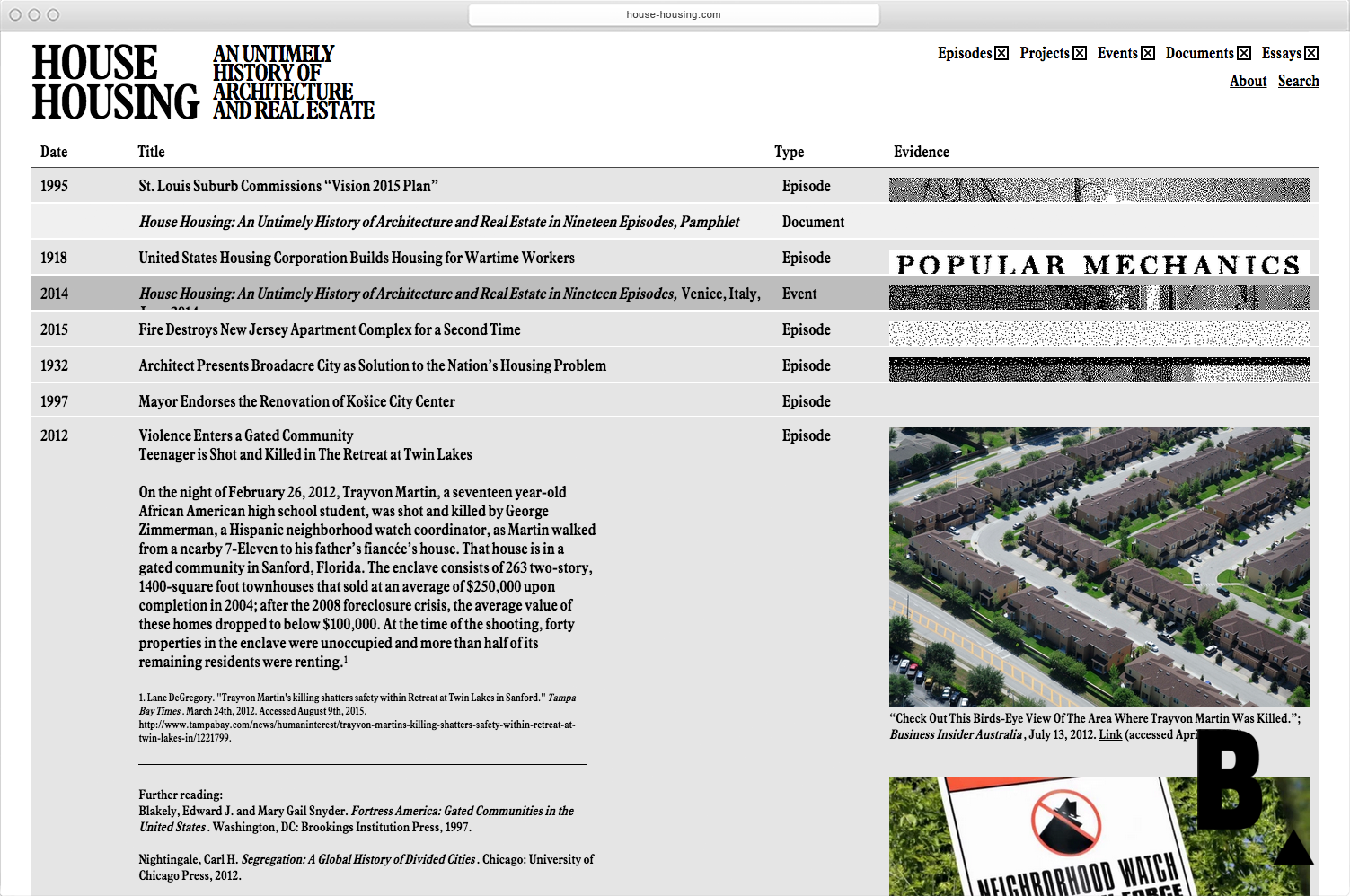 House Housing digital archive  - MTWTF